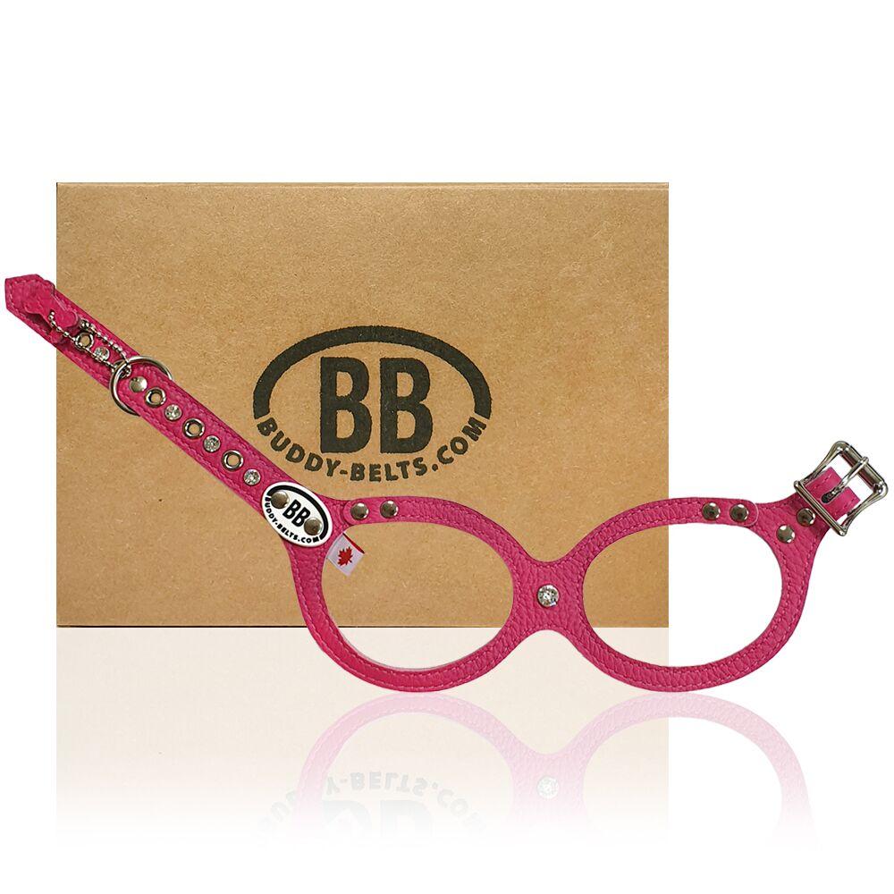 【Buddy Belts】加拿大手工真皮胸背帶-熱情粉紅-3號(水鑽款)