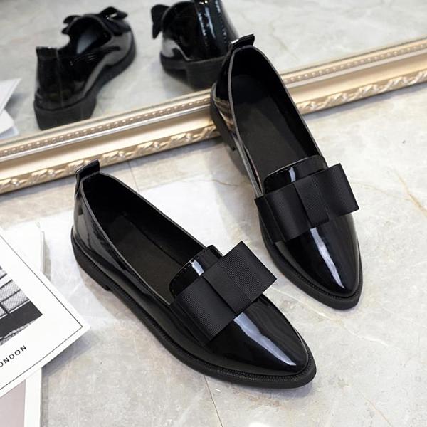 牛津鞋 同款英倫風平底單鞋樂福鞋漆皮上班黑色工作鞋職業小皮鞋女秋 霓裳細軟
