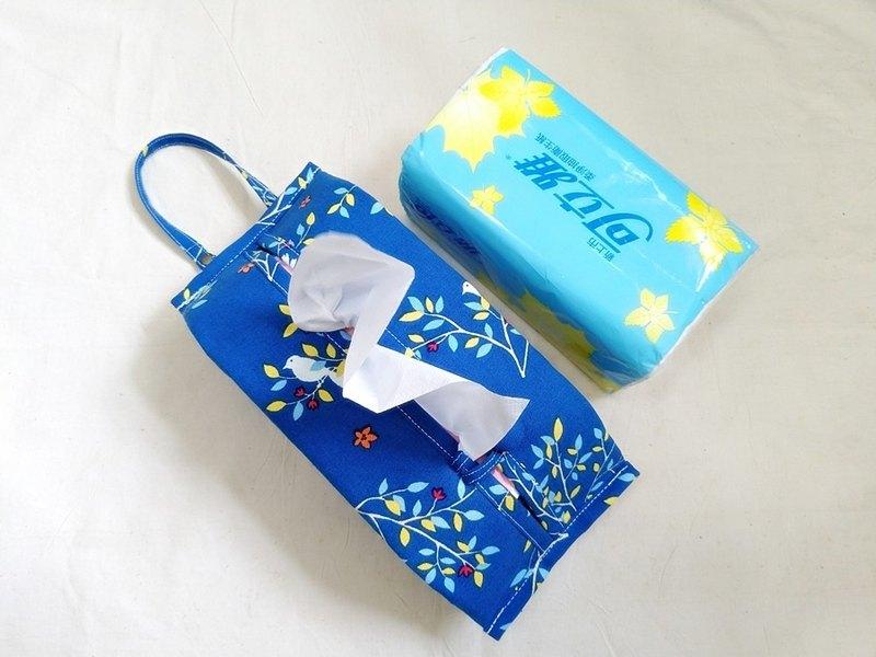 寶藍底小白鳥活動可掛式衛生紙套/面紙套/露營用/車用/寶寶推車用