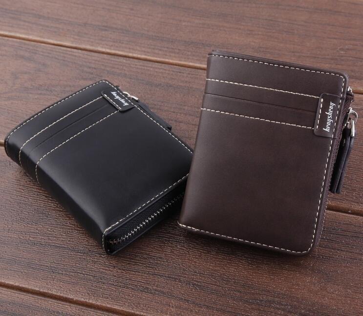 新品男士錢包 短款wallet 復古拉鏈錢夾 男式油臘皮駕駛證 個性男士錢夾 復古商務男款短夾♠極有家♠
