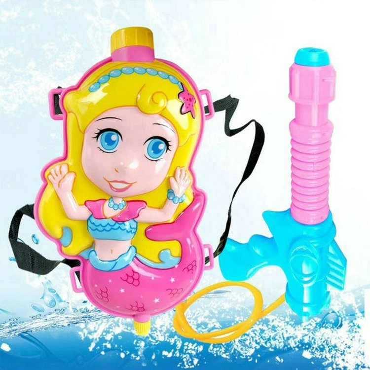 美人魚 背包水槍 加壓 抽拉 水槍 沙灘 兒童 戲水玩具 背包水槍cf139544