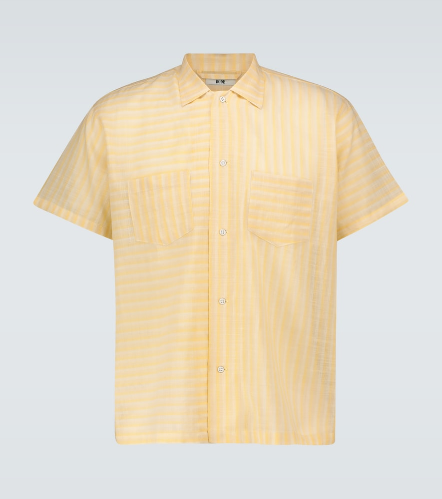 Sheer striped bowling shirt