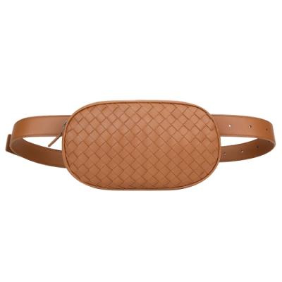BOTTEGA VENETA 手工編織焦糖色羊皮肩背腰包(可單拆皮帶)
