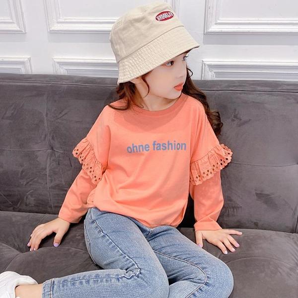 快速出貨 女童t恤長袖裝洋氣中童裝女大童體恤兒童純棉上衣