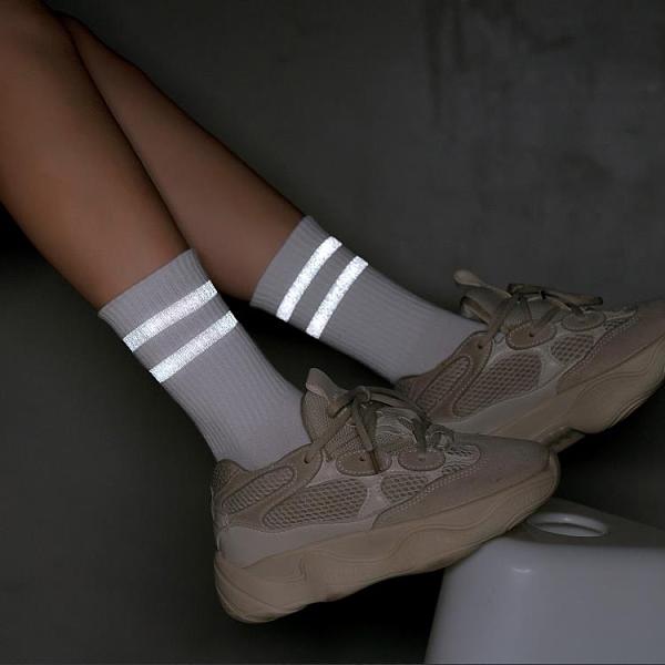 促銷 熒光長襪子女中筒襪反光ins潮流街頭網紅男純棉學生潮牌夏季薄款