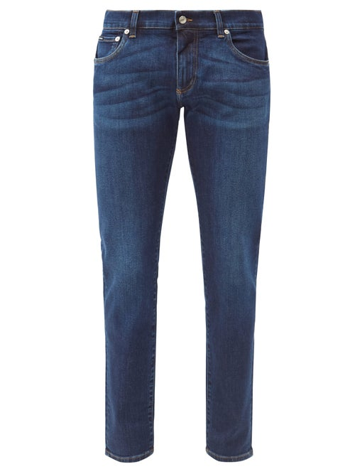 Dolce & Gabbana - Washed Mid-rise Slim-leg Jeans - Mens - Blue
