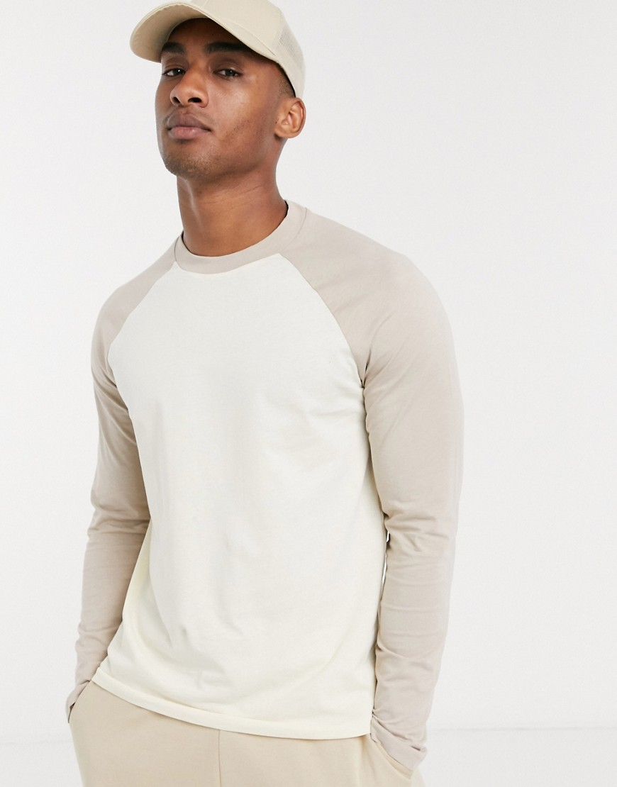 ASOS DESIGN long sleeve raglan t-shirt in beige-Multi