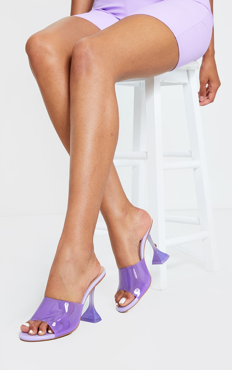 Lilac Cake Stand Clear Mule Heels