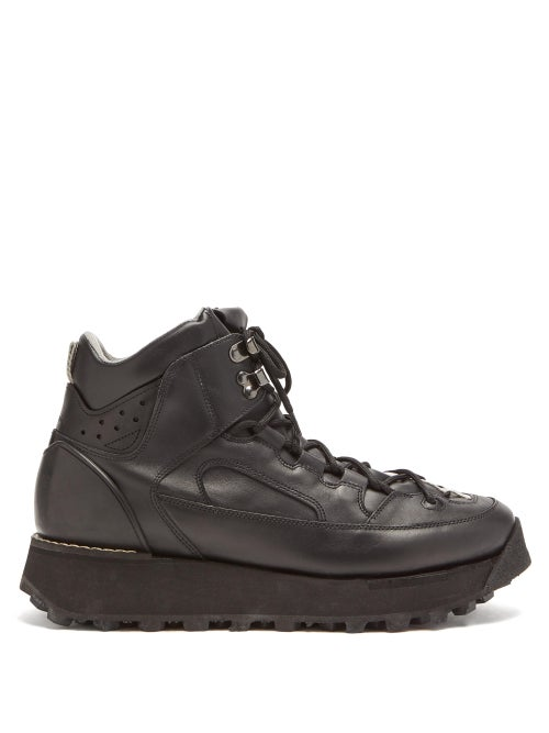 Acne Studios - Flatform Leather Hiking Boots - Mens - Black