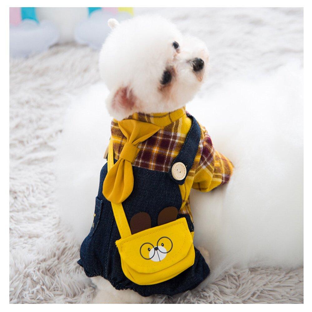 【寵物愛家】寵物秋冬牛仔格子吊帶款服飾(寵物衣服)(Z245)