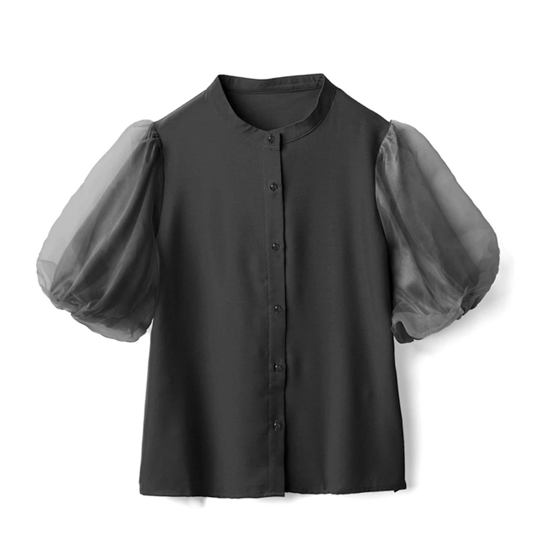 日本 GRL - 時尚薄紗澎澎五分袖襯衫上衣-時尚黑