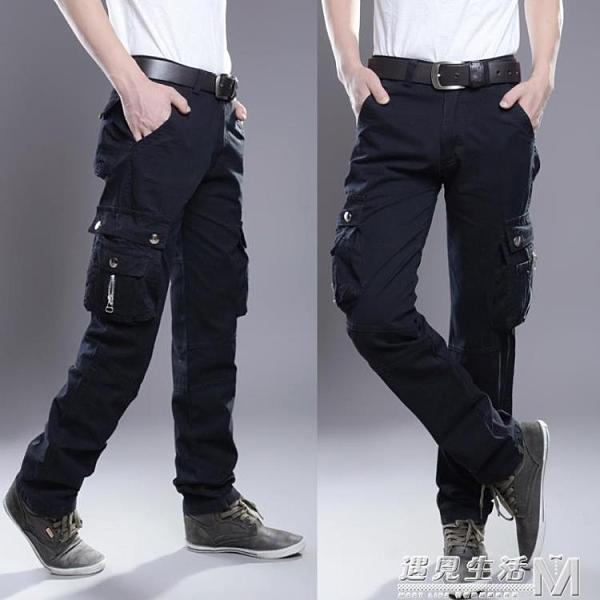 多口袋休閒褲男寬鬆工裝褲男長褲直筒工作褲薄款麻吉軍裝迷彩褲子
