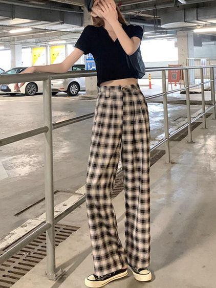 休閒褲黑白格子褲女寬鬆直筒垂感高腰2020年新款夏季薄款休閒拖地闊腿褲