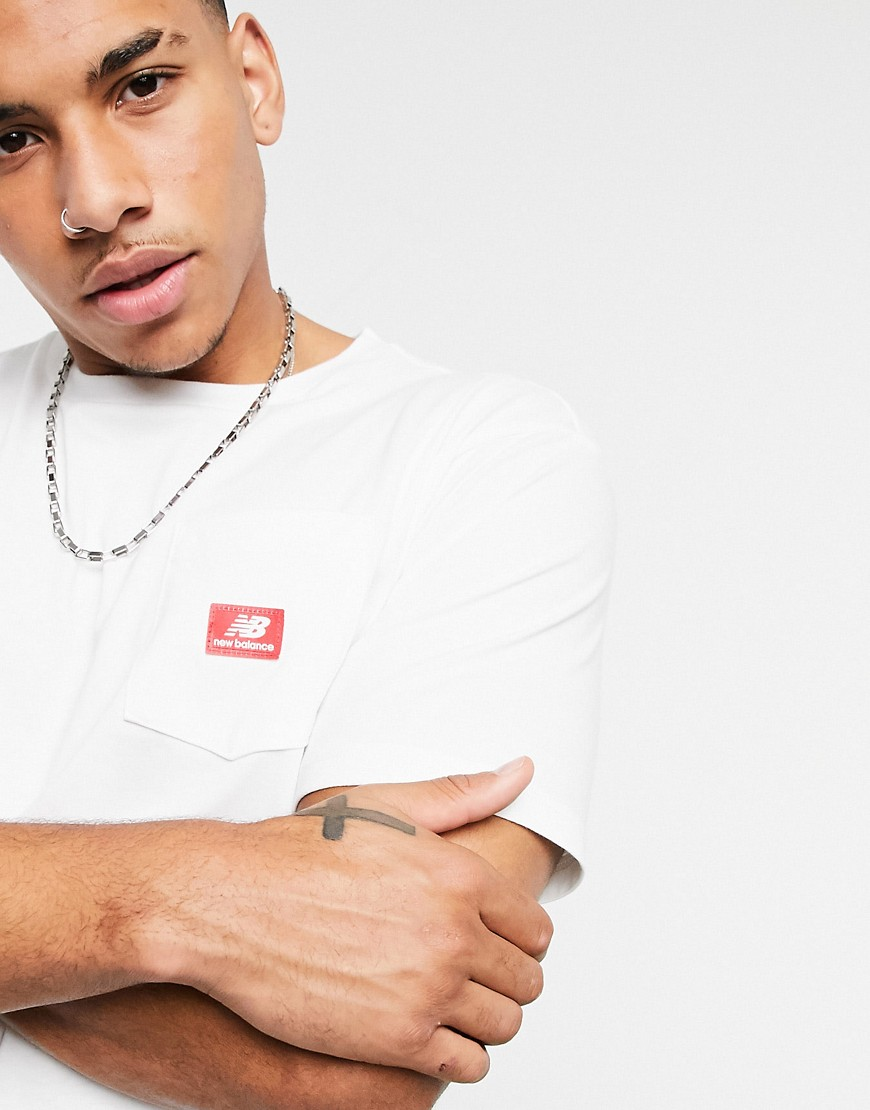 New Balance Athletics pocket t-shirt in white