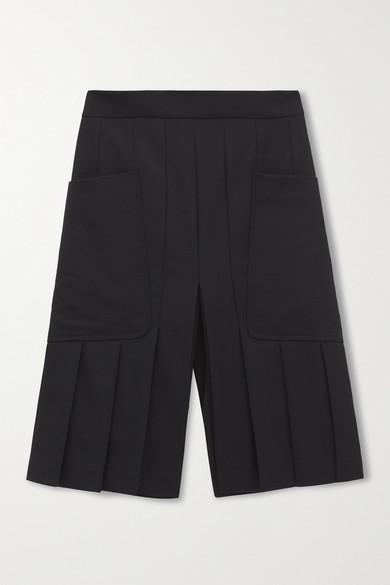 Victoria Beckham - 褶裥羊毛短裤 - 黑色 - UK10