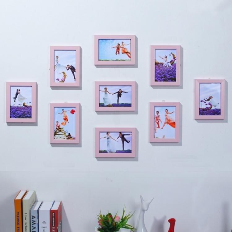 相框照片墻裝飾免打孔相框墻 7寸九宮格臥室創意相片組合掛墻