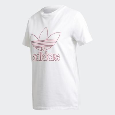 adidas 短袖上衣 休閒 運動 健身  女款 白 GD2258 TREFOIL TEE