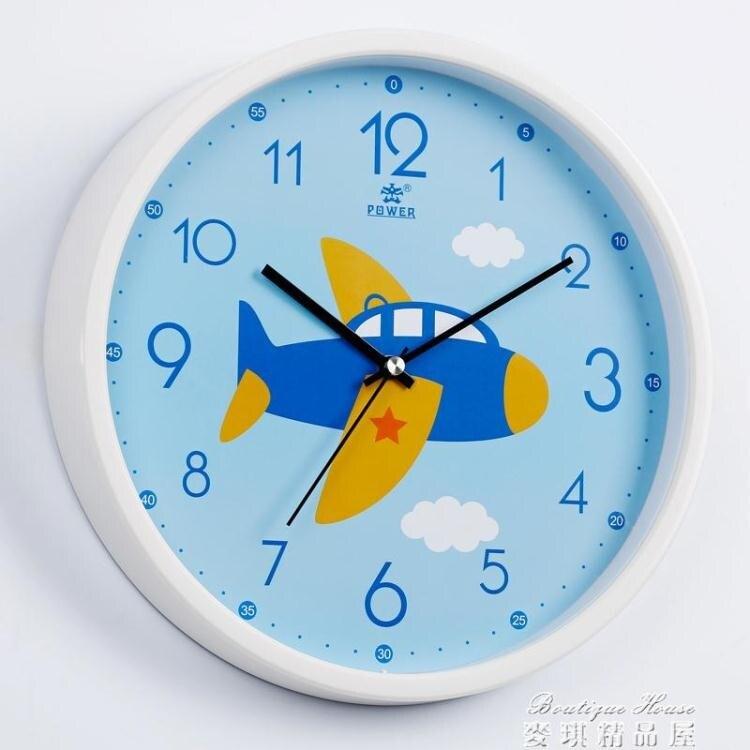 挂鐘 掛鐘客廳家用靜音兒童卡通創意鐘錶臥室恐龍圖案時鐘飛機汽車