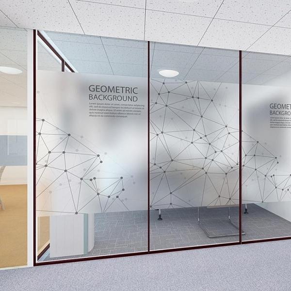 窗貼 現代簡約磨砂背膠靜電玻璃貼辦公室櫥窗移門創意點線防透防曬貼膜YTL 免運