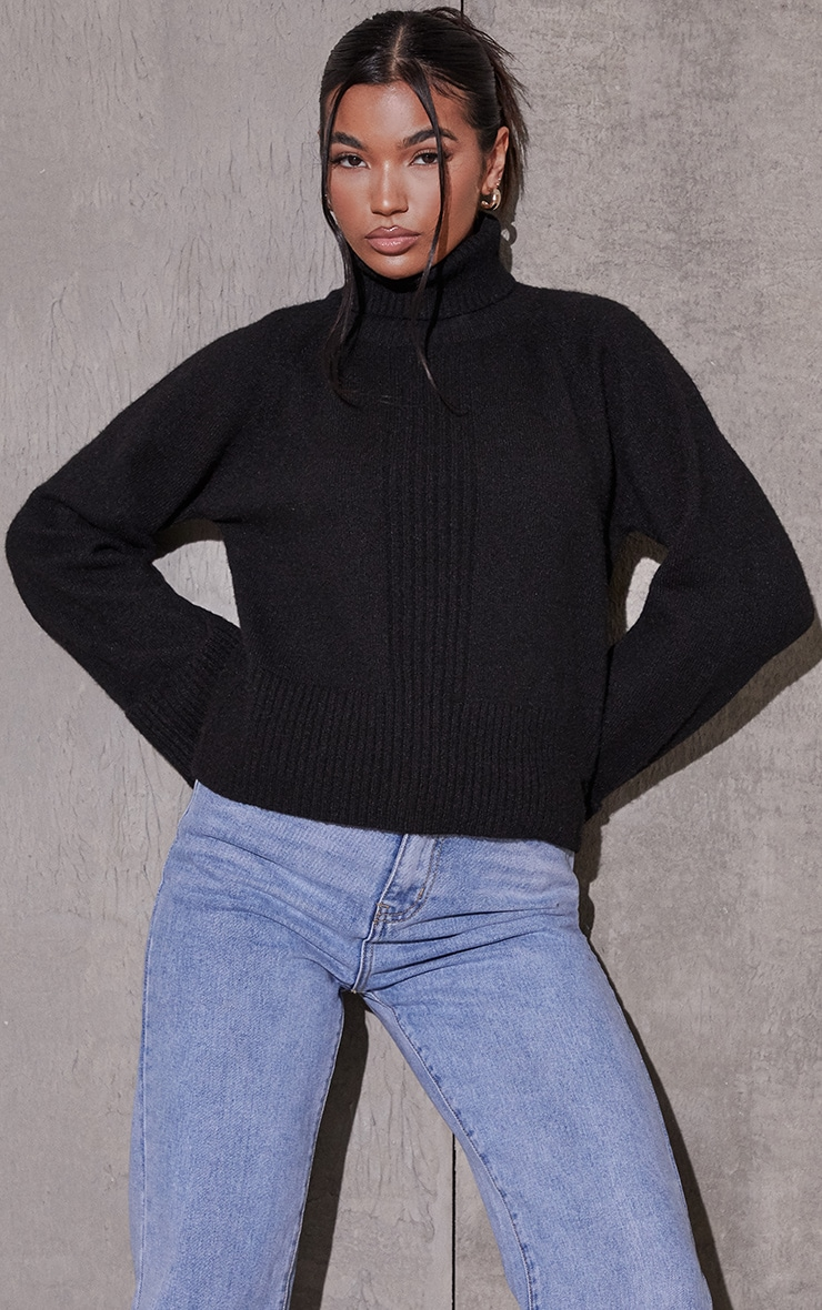 Black Deep Cuff Roll Neck Jumper