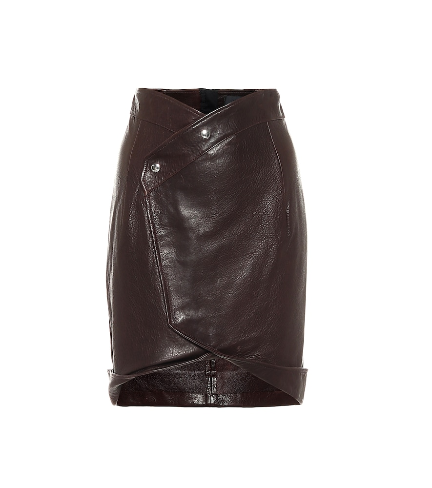 Paloma leather wrap skirt