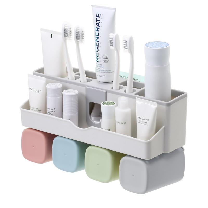 無痕壁掛多功能耐重牙刷架 附無痕貼片x1 附漱口杯x4 自動擠牙膏器