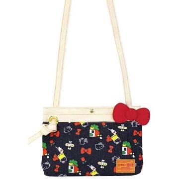 〔小禮堂]Hello Kitty EDWIN 牛仔布扁平斜背袋《藍紅.斜背包.側背袋》