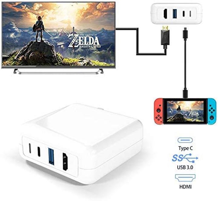 【日本代購】Nintendo Switch 3合1充電器Type C HDMI轉換適配器 相容Nintendo Switch / iPad Pro