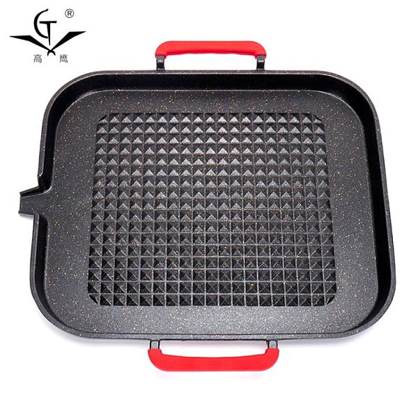 韓式鐵板烤盤木炭燒烤爐家用戶外便攜鋼架麥飯石不粘烤盤 【母親節禮物】