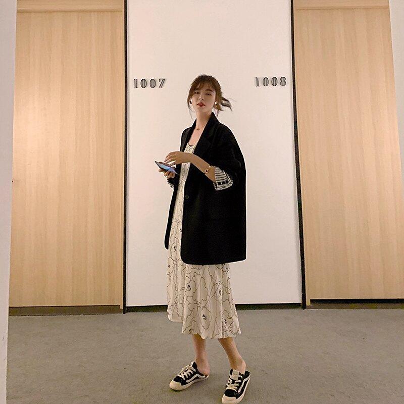 小西裝外套女2020春秋新款韓版英倫風西服套裝黑色