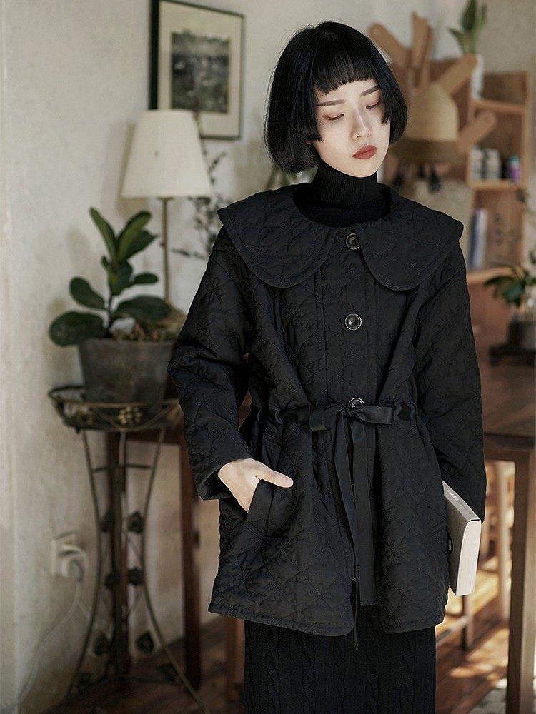 黑色 娃娃領束腰細帶棉服 中長款寬鬆收腰夾棉秋冬款可愛風外套