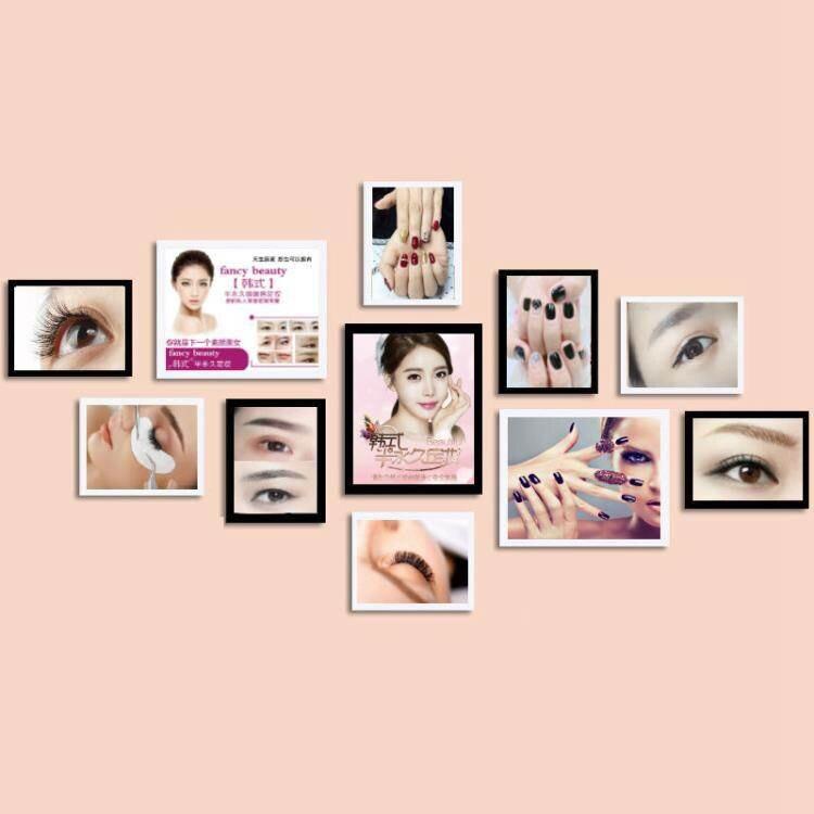 韓式半永久海報眉眼唇美容院背景裝飾畫相框掛畫紋繡美甲照片牆ATF