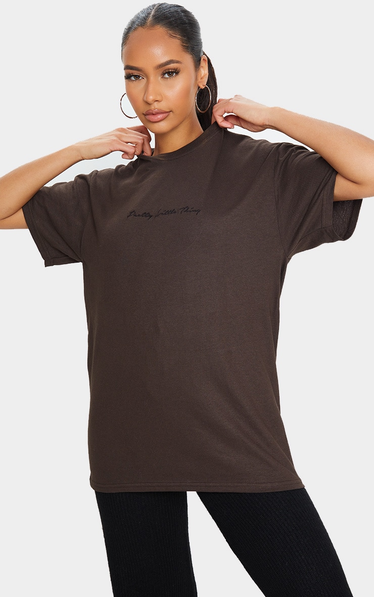 PRETTYLITTLETHING Dark Chocolate Slogan Oversized T Shirt