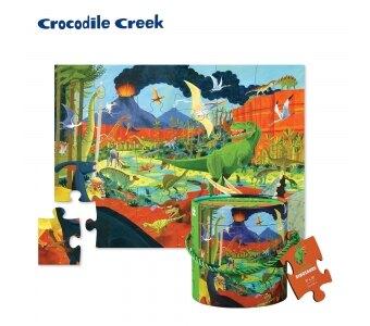 《美國 Crocodile Creek》啟蒙巧巧桶拼圖-侏儸紀公園 24片 東喬精品百貨