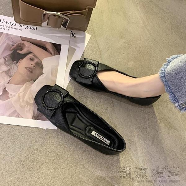 豆豆鞋女夏新款淺口方頭單鞋軟底百搭瓢鞋黑色開車上班平底鞋