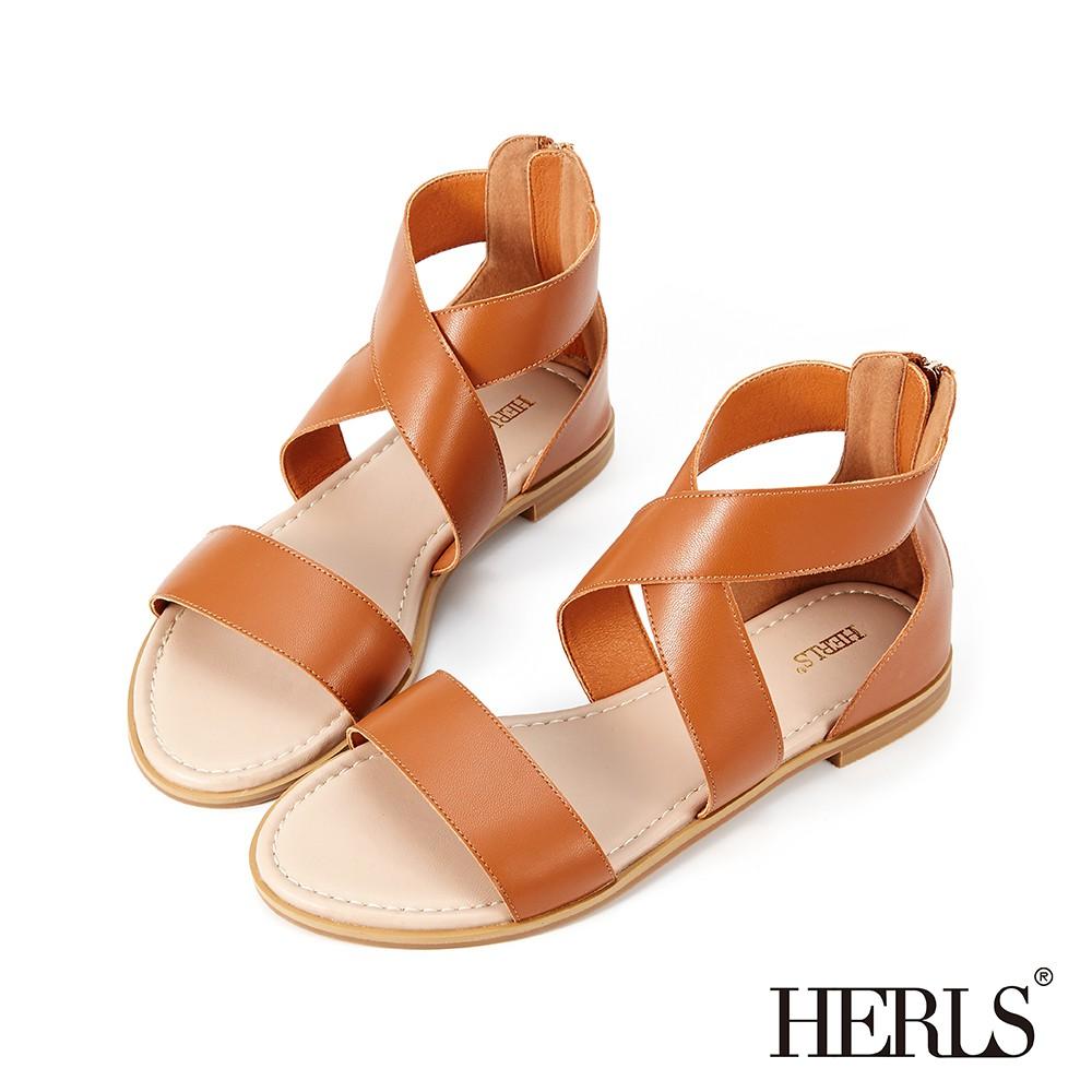 HERLS涼鞋 一字交叉踝帶後拉鍊露趾平底涼鞋 棕色