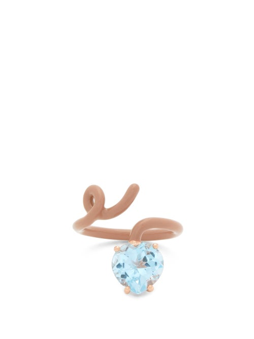Bea Bongiasca - Tendril Topaz, Enamel & 9kt Rose Gold Ring - Womens - Brown Multi