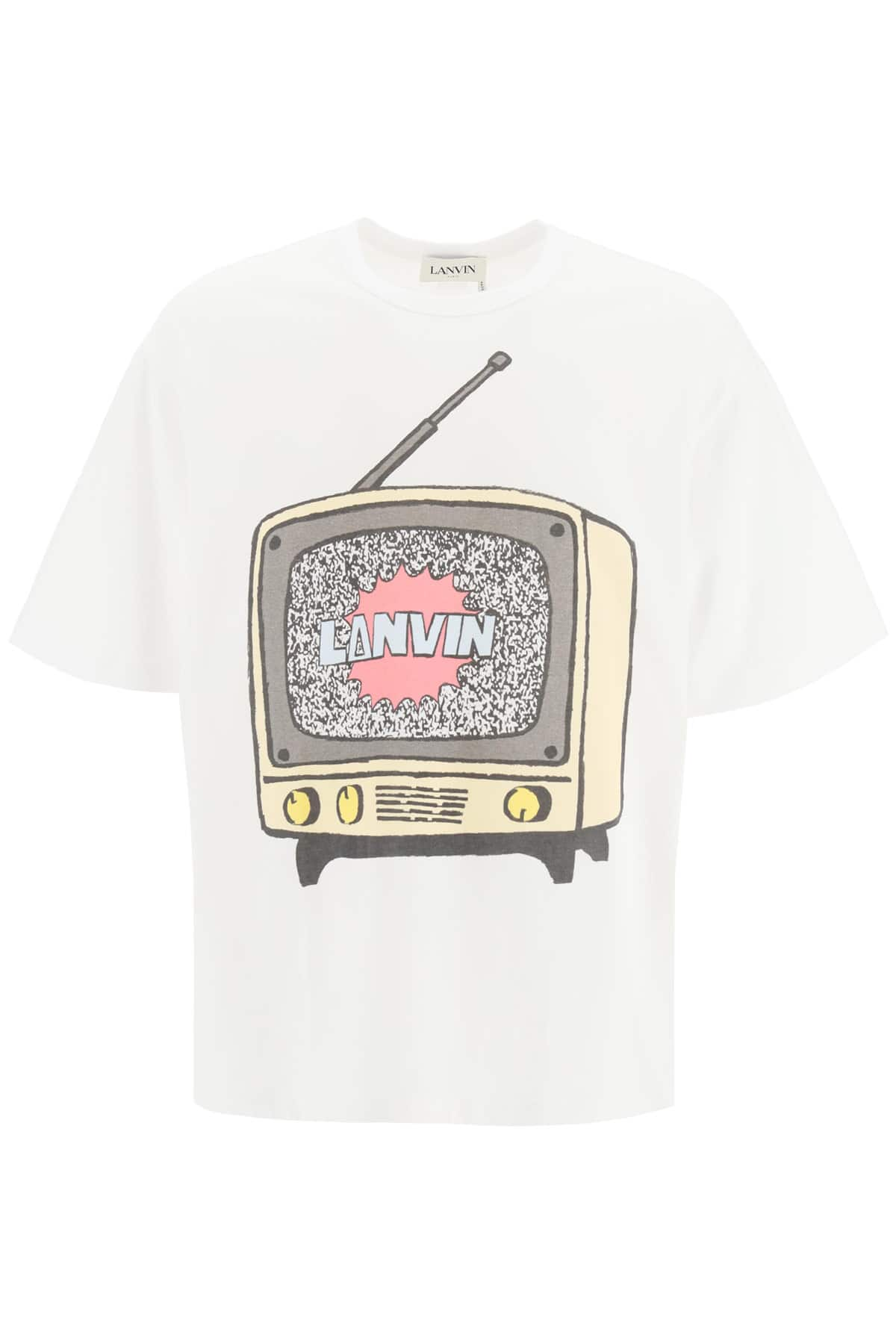 LANVIN LANVIN TV PRINT T-SHIRT XL White, Brown, Yellow Cotton