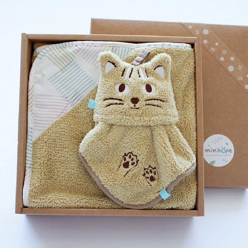 【耶誕限定】雙素材毛巾毯禮盒-石虎二件組(毛毛帕+澎澎毯)
