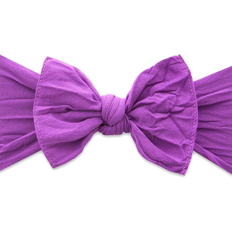 美國baby bling - 純手工超彈/極細緻輕柔/無束縛感蝴蝶結髮帶/髮飾_經典款-葡萄紫 (0-5歲適用)