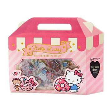 小禮堂 Hello Kitty 手提紙盒造型果凍貼紙 透明貼紙 水晶貼紙 (粉白)