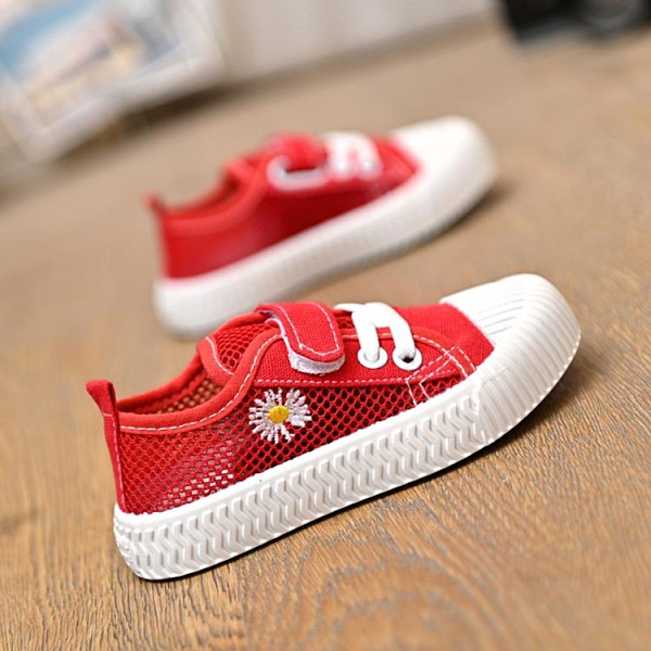 兒童帆布鞋女 夏季透氣鏤空網面兒童小雛菊帆布鞋男女童鞋寶寶單鞋低幫休閒鞋