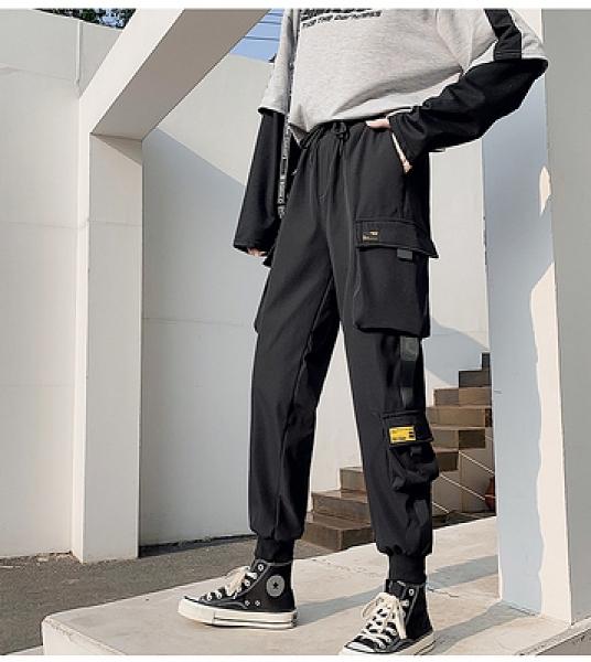 松緊腰 運動休閒褲M-2XL 秋裝新款寬松bf風黑色直筒闊腿工裝褲帥氣嘻哈寬松bf休閑褲 R028 韓依紡