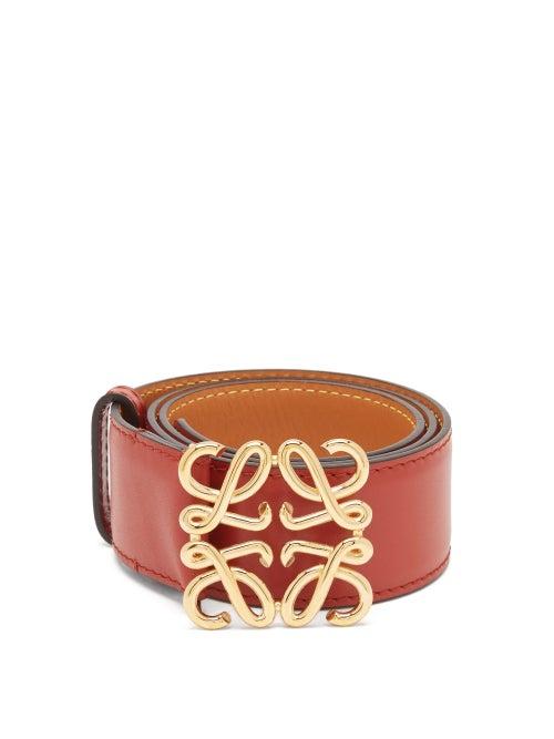 Loewe - Anagram-buckle Leather Belt - Womens - Red