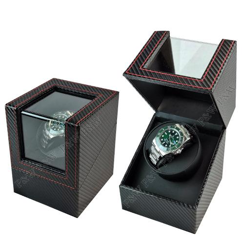 【手錶自動上鍊盒】大錶專用 1只裝 【碳纖維紋】 (動力儲存盒、搖錶器、旋轉盒)