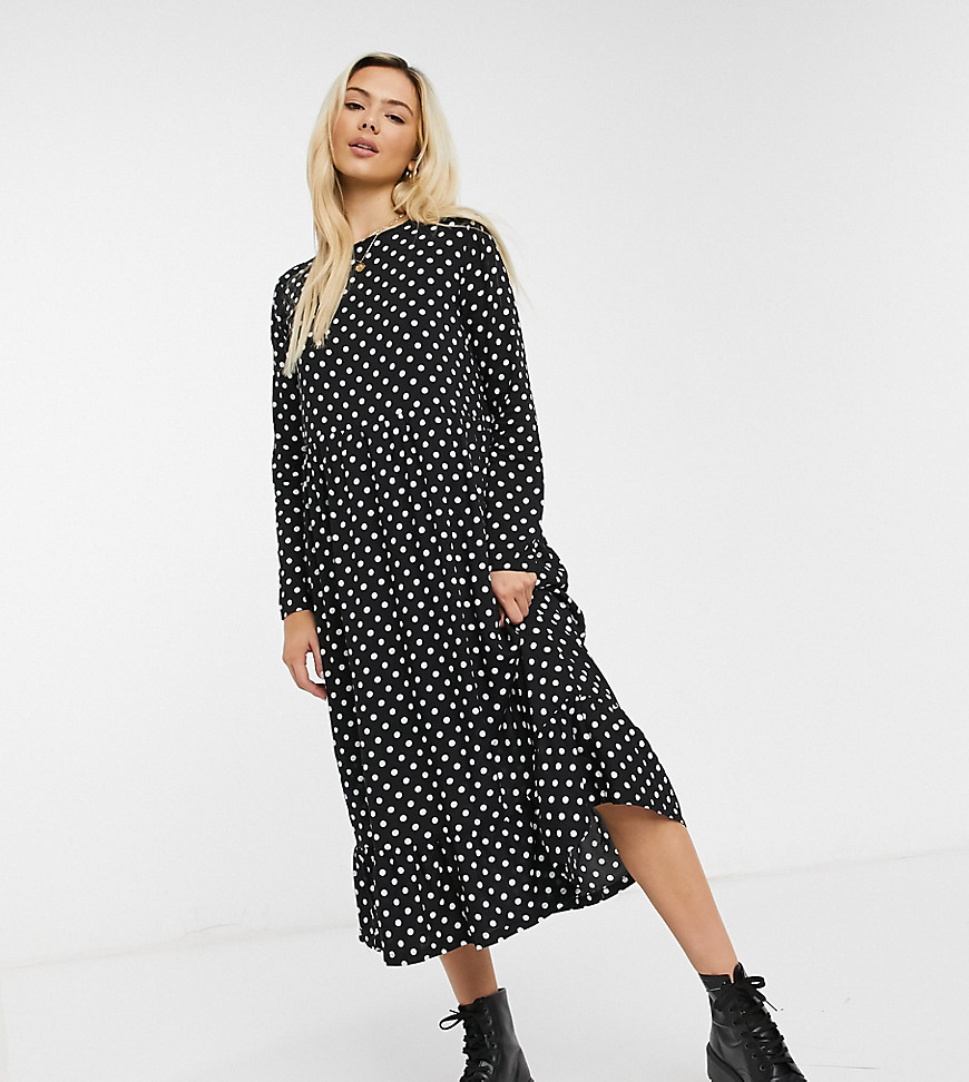 Daisy Street midaxi smock dress in spot print-Black
