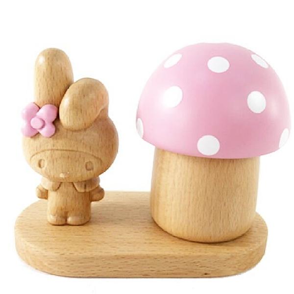 小禮堂 美樂蒂 造型木質音樂鈴 復古音樂鈴 旋轉音樂鈴 (棕粉 蘑菇) 4901610-05895