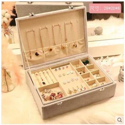 首飾盒 帶鎖首飾盒收納盒大容量飾品戒指耳釘項鏈耳環皮質便攜防塵整理盒