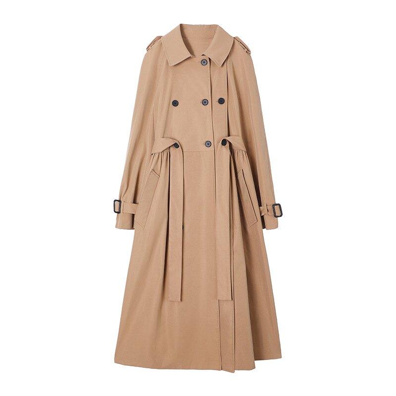 風衣大衣長款外套-雙排扣寬鬆經典翻領女外套73yt19【獨家進口】【米蘭精品】