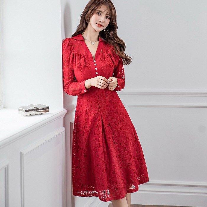 剛柔襯衫V領蕾絲謝師宴宴會洋裝[99100-QF]灰姑娘
